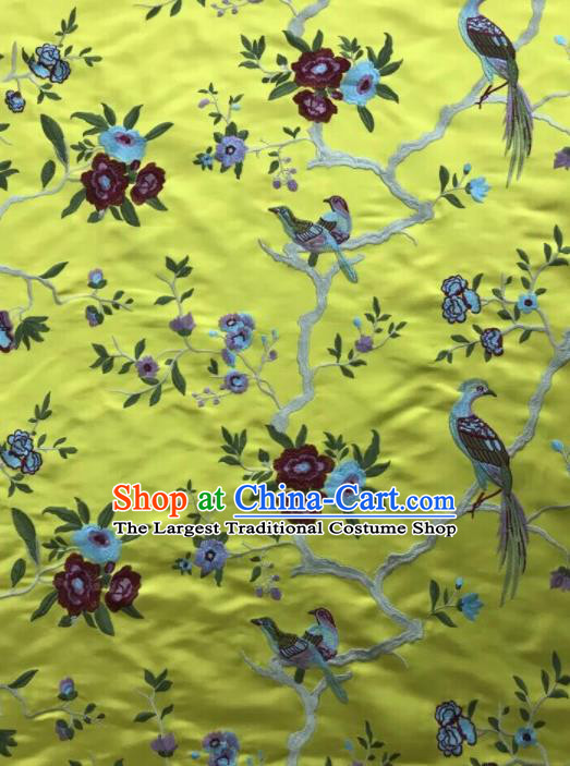 Chinese Traditional Embroidered Begonia Birds Pattern Design Yellow Silk Fabric Asian China Hanfu Silk Material