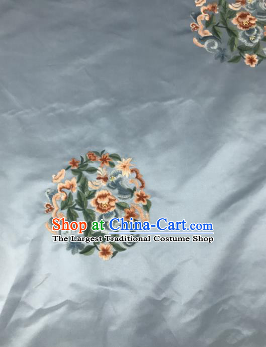 Chinese Traditional Embroidered Round Peony Pattern Design Blue Silk Fabric Asian China Hanfu Silk Material