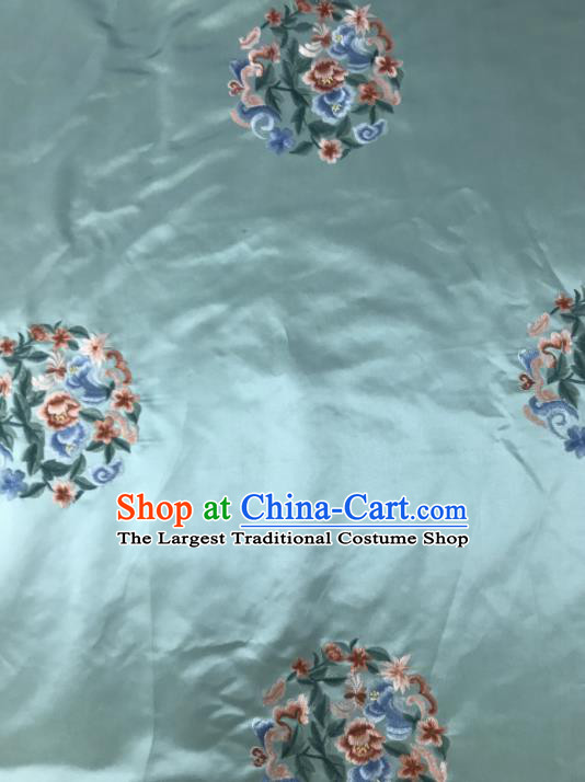Chinese Traditional Embroidered Round Peony Pattern Design Green Silk Fabric Asian China Hanfu Silk Material