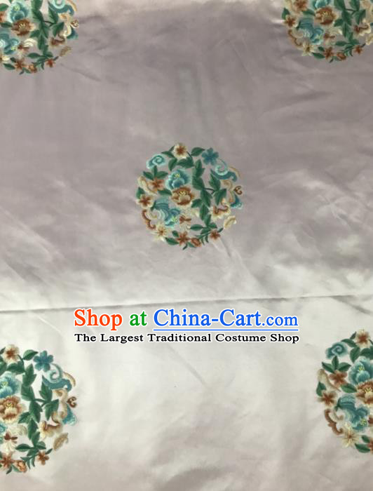 Chinese Traditional Embroidered Round Peony Pattern Design Pink Silk Fabric Asian China Hanfu Silk Material