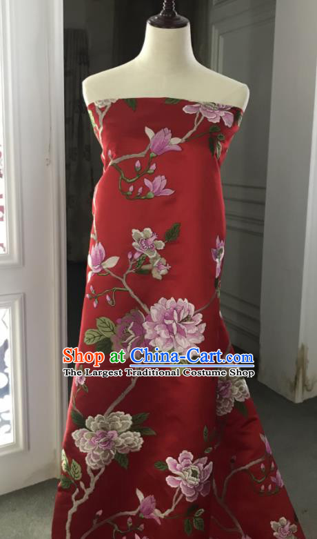 Chinese Traditional Embroidered Peony Pattern Design Red Silk Fabric Asian China Hanfu Silk Material