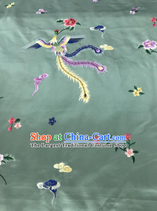 Chinese Traditional Embroidered Phoenix Peony Pattern Design Light Green Silk Fabric Asian China Hanfu Silk Material