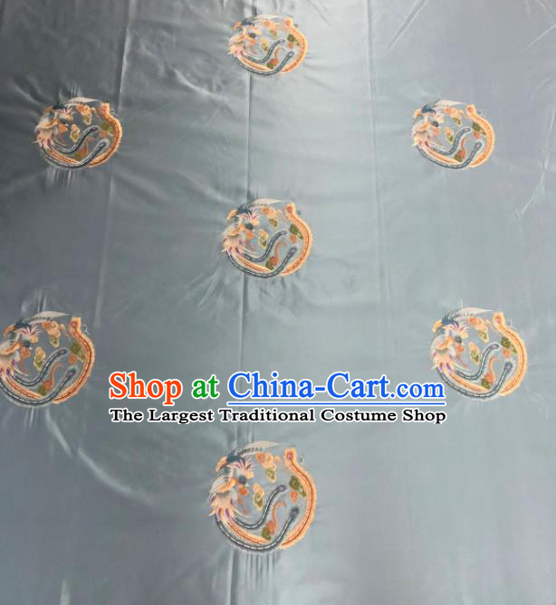 Chinese Traditional Embroidered Round Phoenix Pattern Design Light Blue Silk Fabric Asian China Hanfu Silk Material
