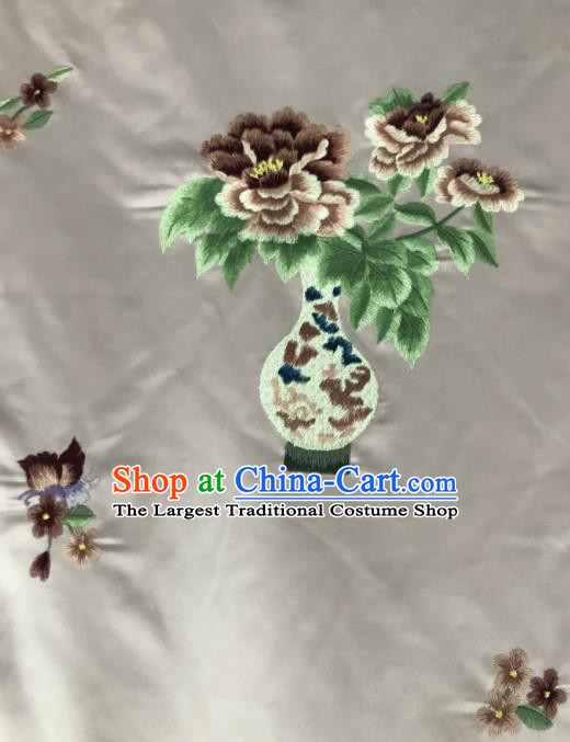 Chinese Traditional Embroidered Peony Vase Pattern Design Pink Silk Fabric Asian China Hanfu Silk Material