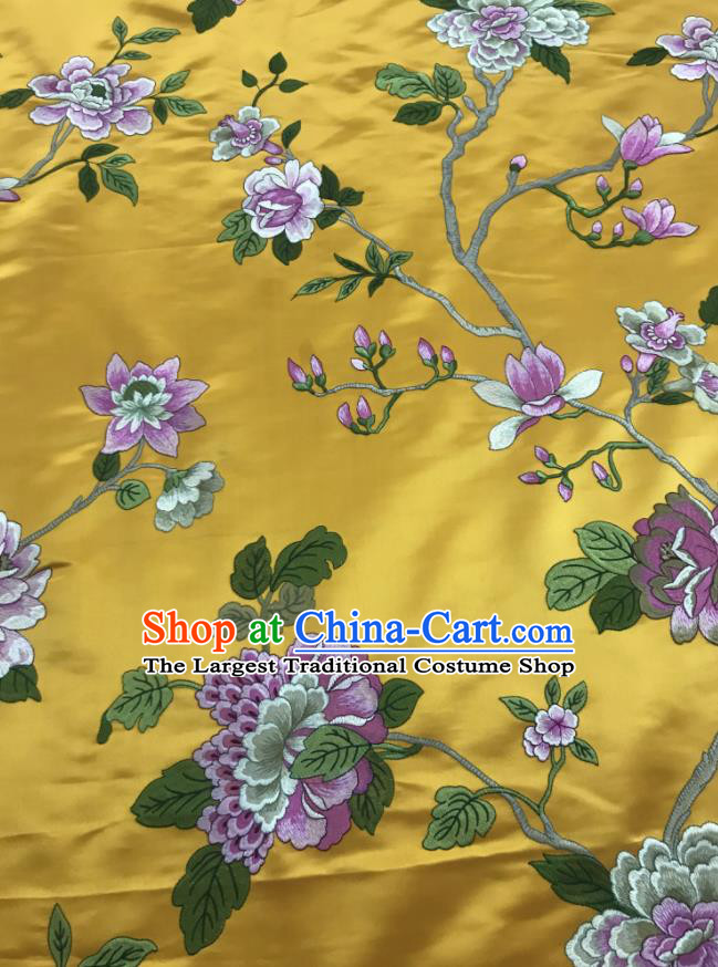 Chinese Traditional Embroidered Peony Pattern Design Yellow Silk Fabric Asian China Hanfu Silk Material