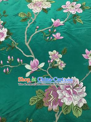 Chinese Traditional Embroidered Peony Pattern Design Green Silk Fabric Asian China Hanfu Silk Material