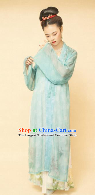 Chinese Ancient Song Dynasty Women Green Beizi Replica Costumes Complete Set