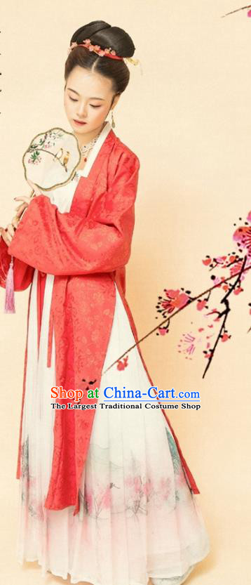 Chinese Ancient Song Dynasty Women Red Beizi Replica Costumes Complete Set
