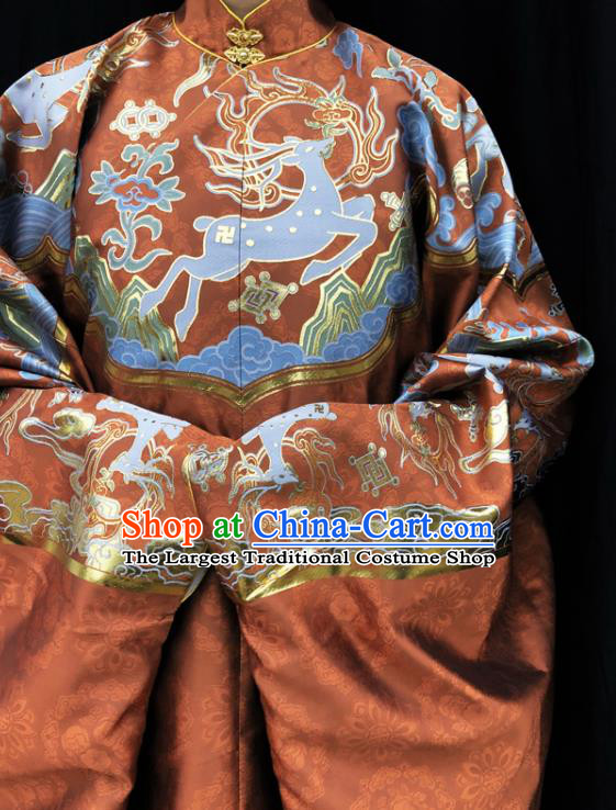Chinese Traditional Deers Pattern Design Carrot Orange Brocade Fabric Asian China Hanfu Satin Material