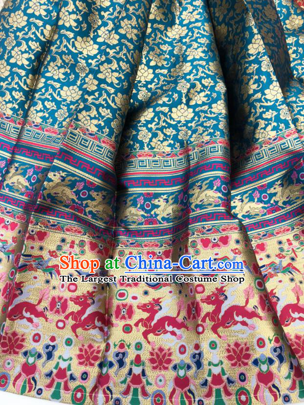 Chinese Traditional Kylin Pattern Design Blue Brocade Fabric Asian China Satin Hanfu Material
