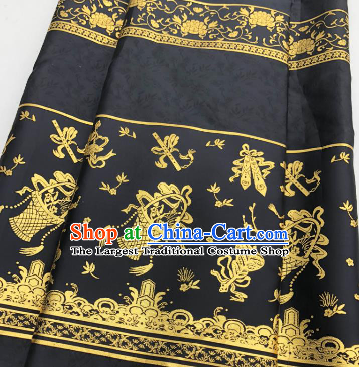 Chinese Traditional Eight Immortals Pattern Design Black Brocade Fabric Asian China Satin Hanfu Material