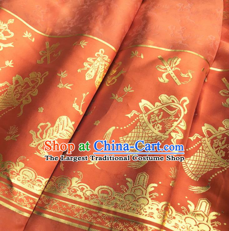 Chinese Traditional Eight Immortals Pattern Design Orange Brocade Fabric Asian China Satin Hanfu Material