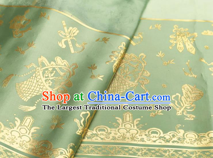Chinese Traditional Eight Immortals Pattern Design Light Green Brocade Fabric Asian China Satin Hanfu Material