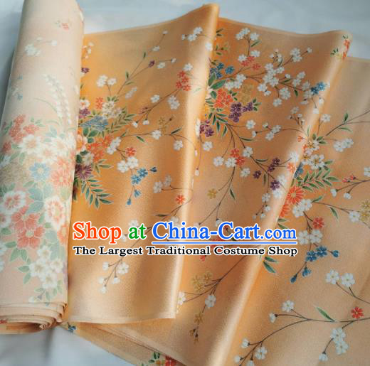 Chinese Traditional Classical Primrose Pattern Design Orange Silk Fabric Asian China Cheongsam Silk Material