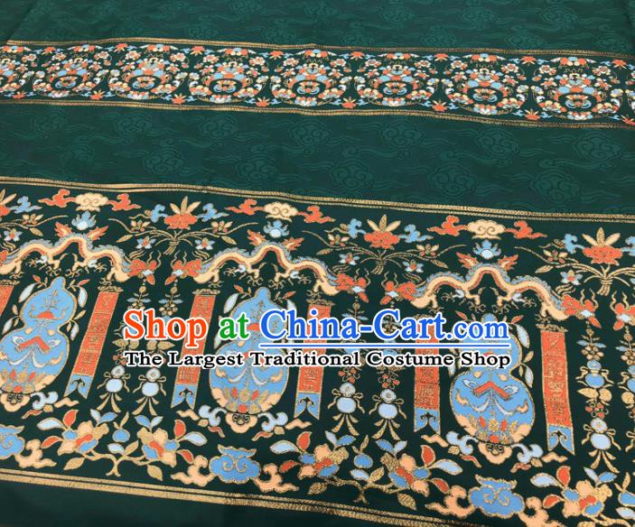 Chinese Traditional Calabash Dragon Pattern Design Deep Green Brocade Fabric Asian China Satin Hanfu Material