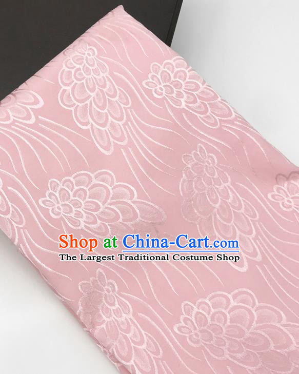Chinese Traditional Peacock Tail Pattern Design Pink Brocade Fabric Asian China Satin Hanfu Material
