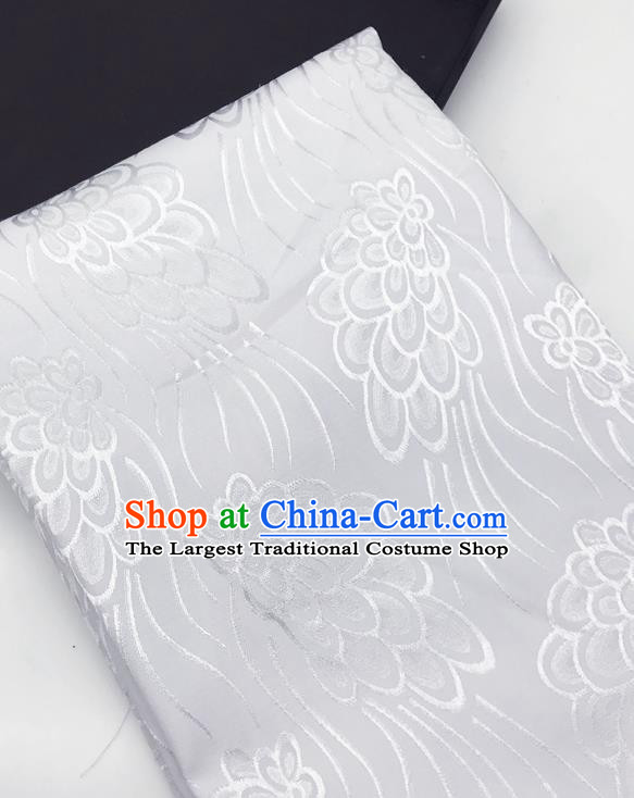 Chinese Traditional Peacock Tail Pattern Design White Brocade Fabric Asian China Satin Hanfu Material