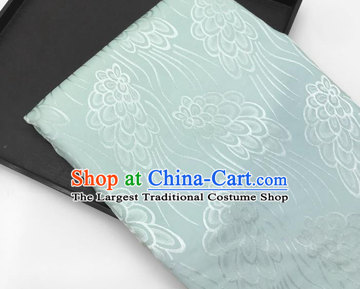 Chinese Traditional Peacock Tail Pattern Design Light Green Brocade Fabric Asian China Satin Hanfu Material