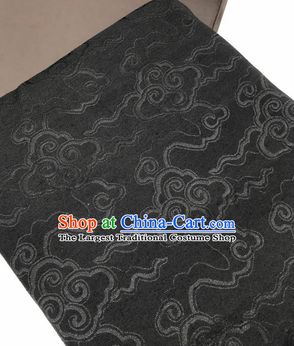 Chinese Traditional Clouds Pattern Design Black Brocade Fabric Asian China Satin Hanfu Material