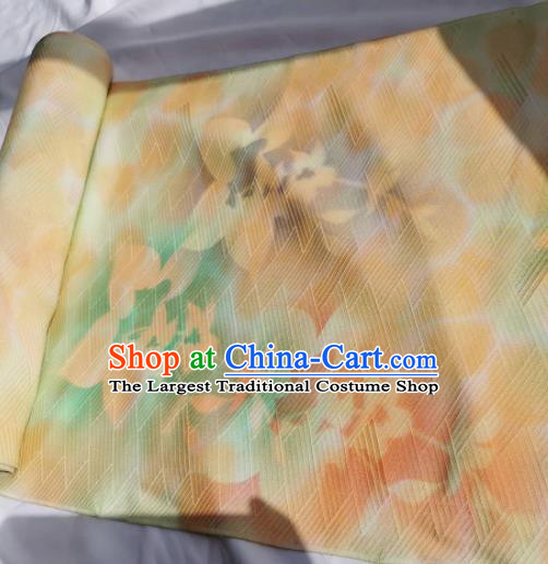 Chinese Traditional Classical Pattern Design Orange Silk Fabric Asian China Cheongsam Silk Material