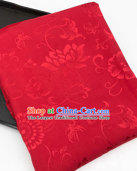 Chinese Traditional Flowers Pattern Design Red Brocade Fabric Asian China Satin Hanfu Material