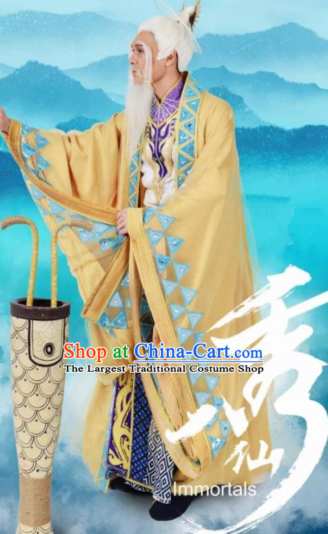 Chinese Stage Performance Qing Show Eight Immortals Zhang Guolao Costumes and Headpiece Complete Set