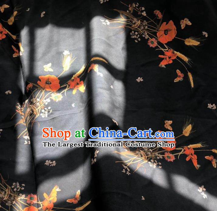 Chinese Traditional Pattern Design Black Silk Fabric Asian China Hanfu Mulberry Silk Material