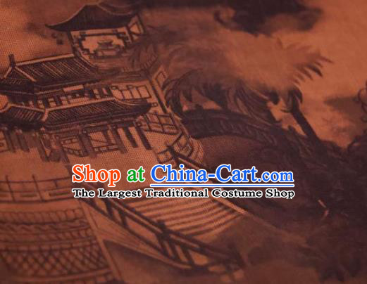 Chinese Traditional Pavilion Pattern Design Brownness Silk Fabric Asian China Hanfu Mulberry Silk Material