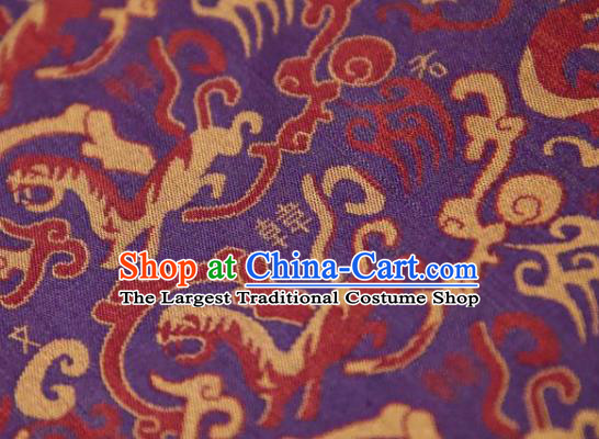 Chinese Traditional Tigers Pattern Design Purple Silk Fabric Asian China Hanfu Mulberry Silk Material