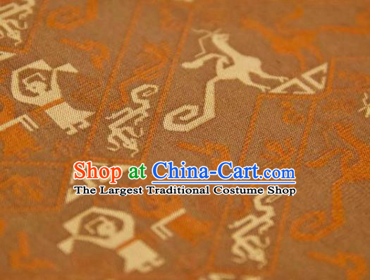 Chinese Traditional Pattern Design Ginger Silk Fabric Asian China Hanfu Mulberry Silk Material