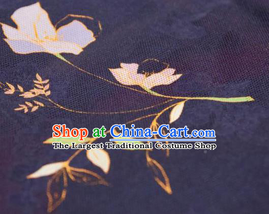 Chinese Traditional Jasminum Pattern Design Navy Silk Fabric Asian China Hanfu Mulberry Silk Material