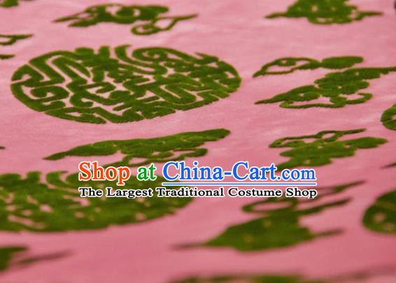 Chinese Traditional Auspicious Clouds Pattern Design Pink Silk Fabric Asian China Hanfu Gambiered Guangdong Mulberry Silk Material