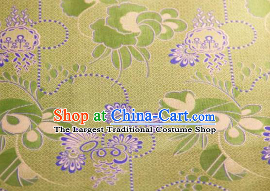 Chinese Traditional Pattern Design Light Green Silk Fabric Asian China Hanfu Gambiered Guangdong Mulberry Silk Material