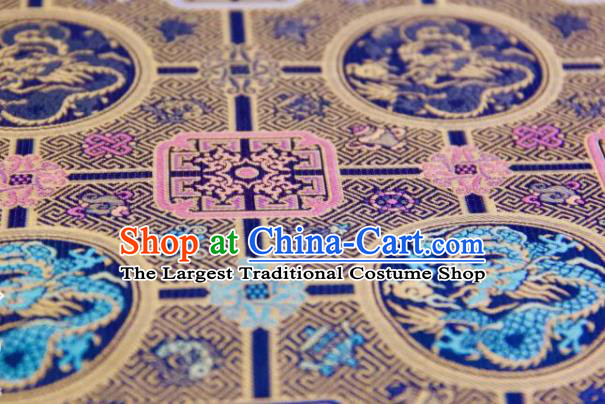 Chinese Traditional Dragon Pattern Design Royalblue Silk Fabric Asian China Hanfu Gambiered Guangdong Mulberry Silk Material
