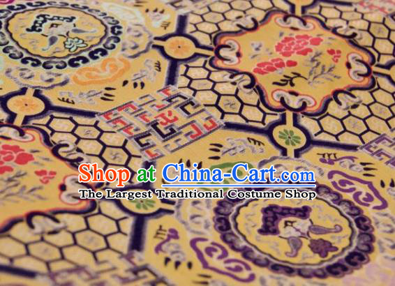 Chinese Traditional Pattern Design Purple Silk Fabric Asian China Hanfu Gambiered Guangdong Mulberry Silk Material