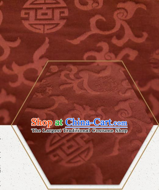 Chinese Traditional Twine Flowers Pattern Design Brown Silk Fabric Asian China Hanfu Rayon Material