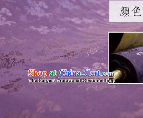 Chinese Traditional Chrysanthemum Pattern Design Purple Silk Fabric Asian China Hanfu Jacquard Mulberry Silk Material