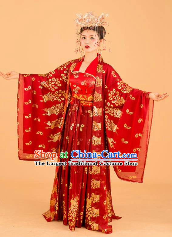 Chinese Traditional Wedding Dress Ancient Song Dynasty Bride Princess Costumes for Women