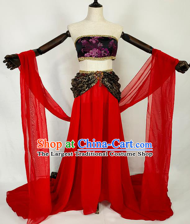 Chinese Traditional Classical Dance Red Dress Ancient Tang Dynasty Court Lady Costumes for Women