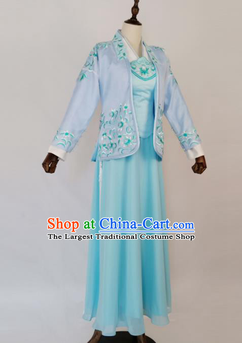 Chinese Traditional Ming Dynasty Embroidered Blue Dress Ancient Nobility Lady Costumes for Women