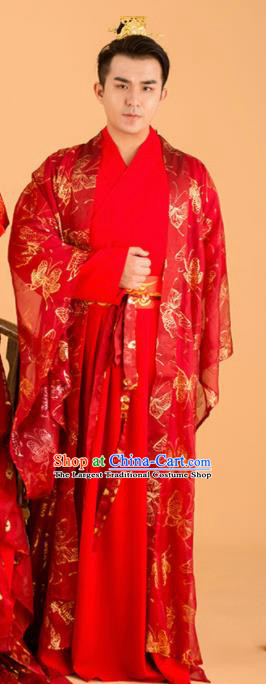 Chinese Traditional Wedding Red Clothing Ancient Song Dynasty Bridegroom Scholar Costumes for Men