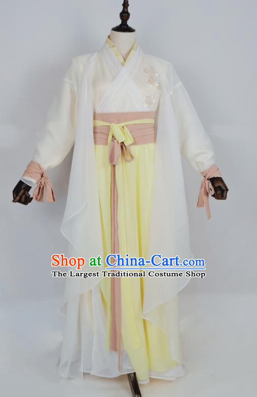 Chinese Traditional Song Dynasty Embroidered White Dress Ancient Female Swordsman Costumes for Women