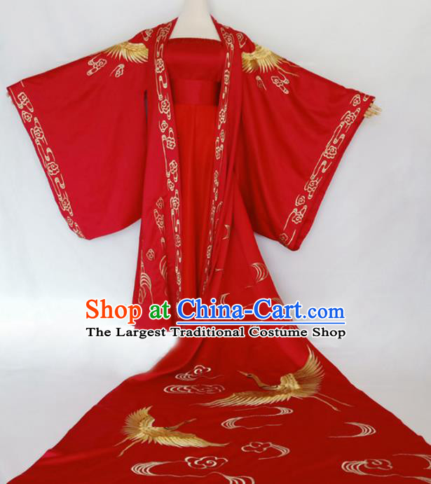 Chinese Traditional Tang Dynasty Wedding Embroidered Red Dress Ancient Princess Costumes for Women