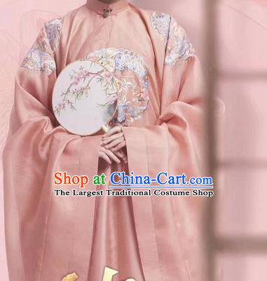 Chinese Traditional Ming Dynasty Young Mistress Embroidered Pink Dress Ancient Nobility Lady Costumes for Women