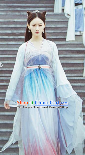 Chinese Traditional Female Swordsman Dress Ancient Ming Dynasty Taoist Nun Costumes for Women