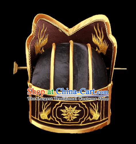 Chinese Traditional Han Dynasty Emperor Black Hat Ancient Monarch Headwear for Men