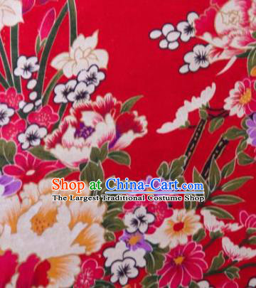 Chinese Traditional Peony Flowers Pattern Design Red Silk Fabric Asian China Hanfu Gambiered Guangdong Mulberry Silk Material