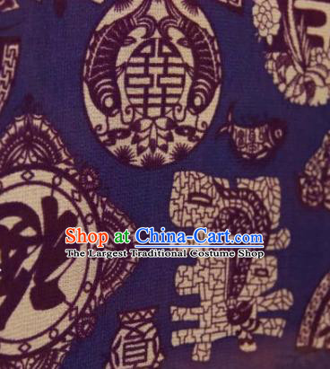 Chinese Traditional Lucky Pattern Design Blue Silk Fabric Asian China Hanfu Gambiered Guangdong Mulberry Silk Material