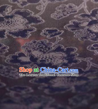 Chinese Traditional Peony Pattern Design Black Silk Fabric Asian China Hanfu Gambiered Guangdong Mulberry Silk Material