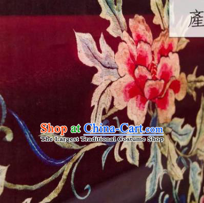Chinese Traditional Peony Pattern Design Purplish Red Silk Fabric Asian China Hanfu Gambiered Guangdong Mulberry Silk Material